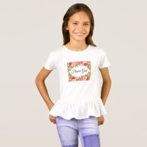 Watercolor Roses & Glitter T-Shirt (FLOWER GIRL)