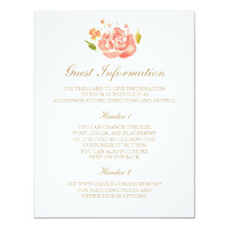 Watercolor Roses Information Card