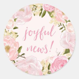 Watercolor Roses Joyful News Birth Announcement Classic Round Sticker