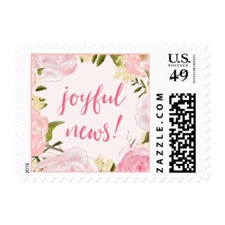 Watercolor Roses Joyful News Birth Announcement Postage