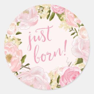 Watercolor Roses Just Born Birth Announcement Seal Classic Round Sticker
