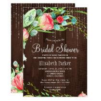 Watercolor roses lights barn wood bridal shower card