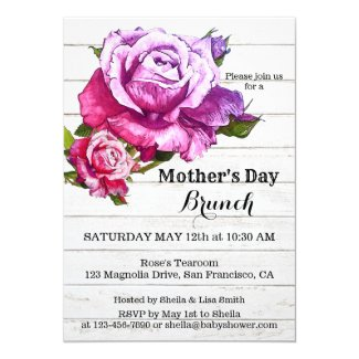 Watercolor Roses Mothers Day Brunch Invitation