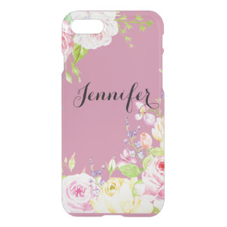 Watercolor Roses Personalized iPhone 7 Case