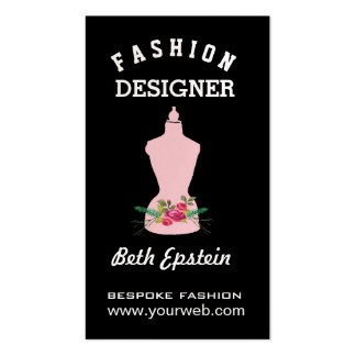 Watercolor Roses Pink Fashion Retro Mannequin Business Card