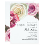 Watercolor Roses Pink & White Chic Bridal Shower Card