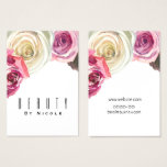 Watercolor Roses Pink White Floral Glam Chic Business Card