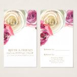 Watercolor Roses Pink White Floral Refer a Friend Business Card
