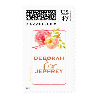 Watercolor Roses Postage Stamp