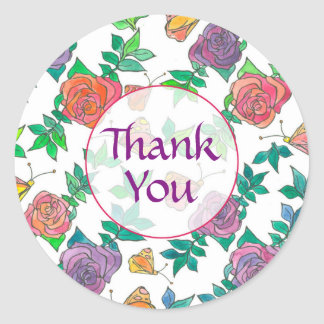 Watercolor Roses Purple Mauve Thank You Classic Round Sticker