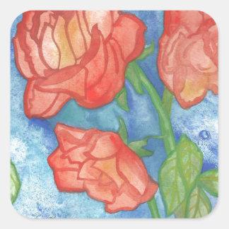 Watercolor Roses Square Sticker