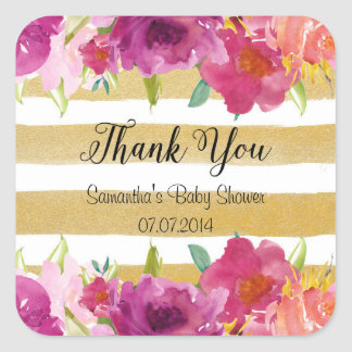Watercolor Roses Thank You Stickers