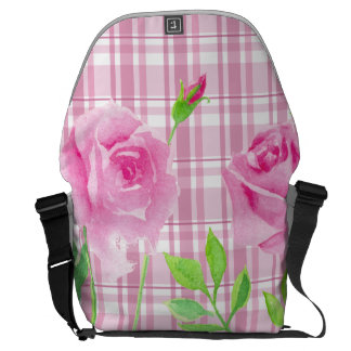 Watercolor roses with plaid backbag Rickshaw Courier Bag