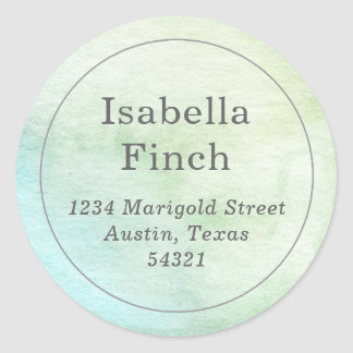 Watercolor Round Address Label