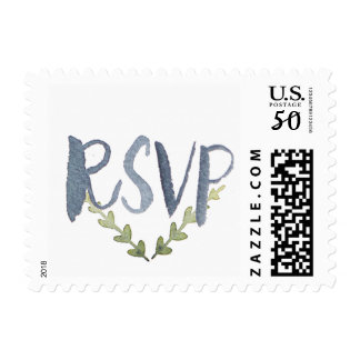 Watercolor RSVP Laural Leaves Hand Lettered Stamp