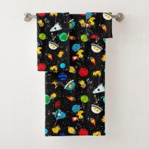 Watercolor Rubber Duck Astronauts Kids Bath Towel Set