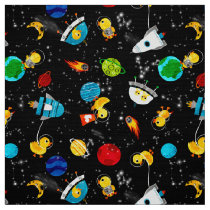 Watercolor Rubber Duck Astronauts Kids Outer Space Fabric