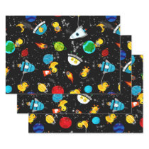 Watercolor Rubber Duck Astronauts Kids Outer Space Wrapping Paper Sheets