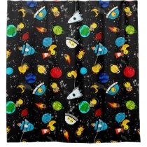 Watercolor Rubber Duck Astronauts Kids Shower Curtain