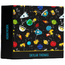 Watercolor Rubber Duck Astronauts Personalized 3 Ring Binder