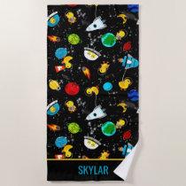 Watercolor Rubber Duck Astronauts Personalized Beach Towel