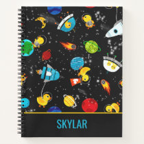 Watercolor Rubber Duck Astronauts Personalized Notebook