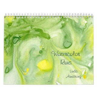 """Watercolor Runs"" Abstract Fine Art Calendar"