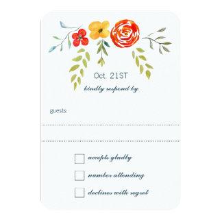 Watercolor Rustic Floral Garland Folk Art Wedding Card