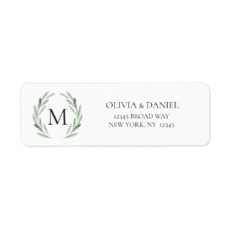Watercolor Rustic Green Wreath Return Address Label