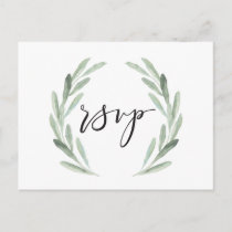 Watercolor Rustic Green Wreath Wedding RSVP Invitation Postcard