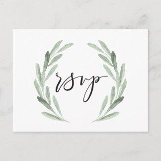 Watercolor Rustic Green Wreath Wedding RSVP Invitation Postcard