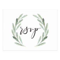 Watercolor Rustic Green Wreath Wedding RSVP Postcard