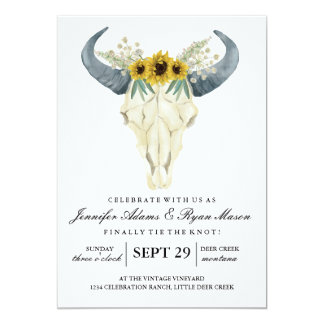 Watercolor Rustic Rodeo | Wedding Sunflowers Card