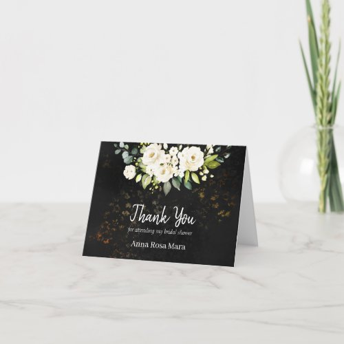 Watercolor Rustic White Rose Bridal Shower Thank You Card