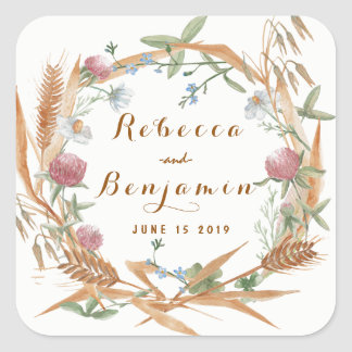 Watercolor Rustic Wild Floral Wreath Fall Wedding Square Sticker