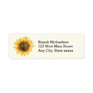 Watercolor Rustic Yellow Sunflower Floral Label