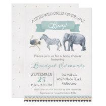 Watercolor Safari Animals Baby Shower Invitation