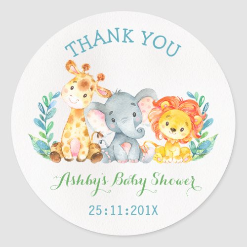 Watercolor Safari Animals Baby Shower Sticker