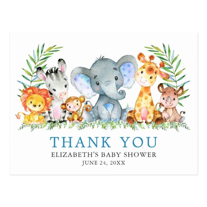Safari Animal Themed Thank You Postcards Elephant Giraffe Lion Zebra 0060 Printable or Printed Safari Baby Shower Thank You Postcards
