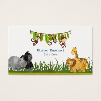 Watercolor Safari Jungle Animal Illustration Business Card