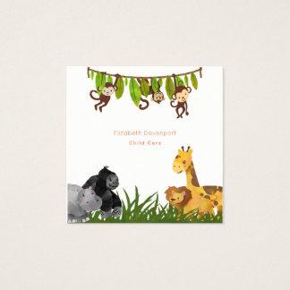 Watercolor Safari Jungle Animal Illustration Square Business Card