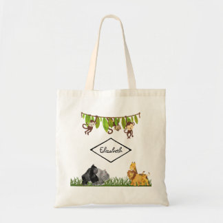 Watercolor Safari Jungle Animal Illustration Tote Bag