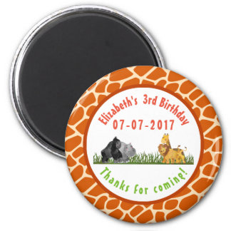 Watercolor Safari Jungle Animals Birthday Thanks Magnet