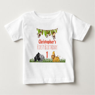 Watercolor Safari Jungle Animals First Birthday Baby T-Shirt