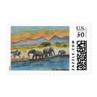 Watercolor Safari Sunset Elephant Scene Postage