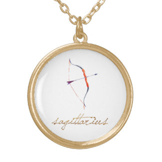 Watercolor Sagittarius Bow & Arrow Gold Plated Necklace