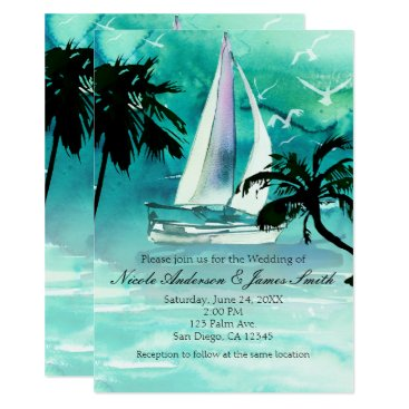 Beach Themed Watercolor Sailboat & Palm Trees Sea Invitations