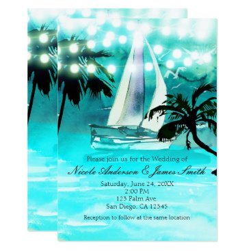 Beach Themed Watercolor Sailboat Palm Trees & String Lights Card