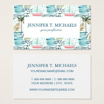 Watercolor Sailboat with Palm Tree Pattern Business Card