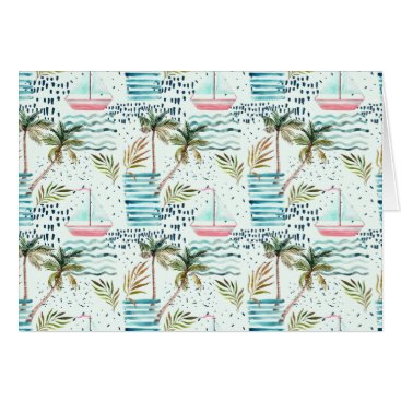 Watercolor Sailboat with Palm Tree Pattern Card